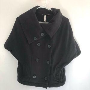 Free People Black Sleeveless Jacket Vest Cowl Neck